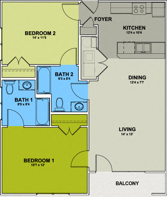 Floor Plan  Image of a Irving Park Floor Plan - 2 Bed 2 Bath