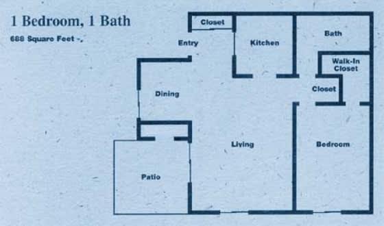 Floor Plan  Country Club Villa Apartments - One (1) Bedroom Floorplan