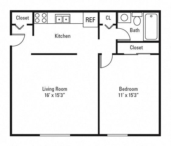 Floor Plan  1 Bedroom, 1 Bath 640 sq. ft.