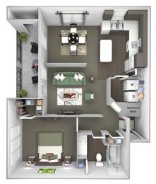 The Estates at River Pointe - A2 - 1 bedroom - 1 bathroom - 3D floor plan