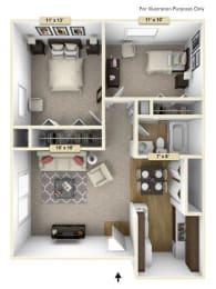 Hemlock/Oak Two Bedroom Floor Plan at Perry Place, Michigan, 48439