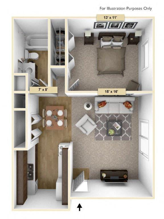 Floor Plan  Hemlock One Bedroom Floor Plan at Perry Place, Michigan