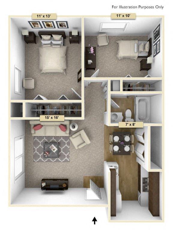 Floor Plan  Hemlock/Oak Two Bedroom Floor Plan at Perry Place, Michigan, 48439