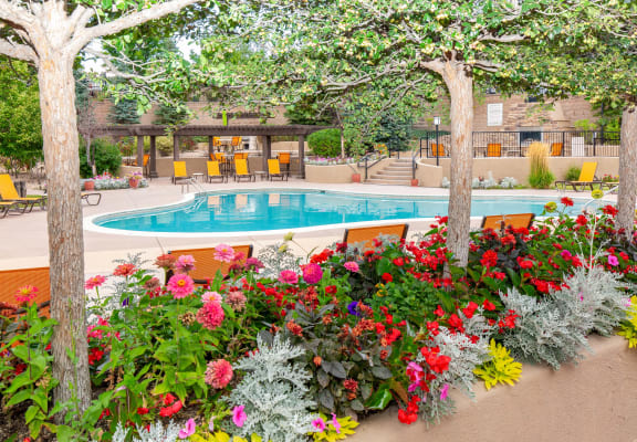 colorful flower landscaping around pool deck at Echo Ridge Apartments in Castle Rock, CO