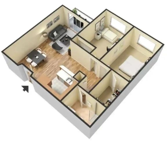 Floor Plan  C – 2 Bedroom 1 Bath Floor Plan Layout – 730 Square Feet