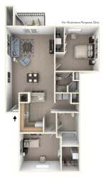 2 Bed 2 Bath Two Bedroom, Two Bath Floor Plan at Pine Knoll Apartments, Michigan, 49014