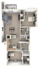 2 Bed 2 bath Two Bedroom Floor Plan at Oak Shores Apartments, Wisconsin