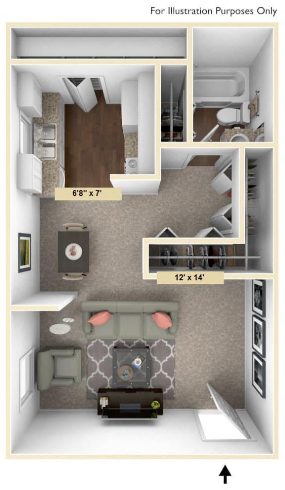Floor Plan  Hampton Studio Floor Plan at Windsor Place, Davison, MI, 48423