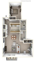 1-Bed/1-Bath, Peony Deluxe Floor Plan at Portsmouth Apartments, Michigan