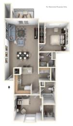 Traditional Two Bedroom Two Bath Floorplan at Glenn Valley Apartments, Michigan, 49015