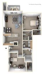 Two Bedroom Two Bath Floorplan at Heatherwood Apartments, Michigan, 48439