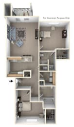 Traditional Two Bedroom Floor Plan at Trillium Pointe Apartment Homes, Michigan