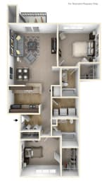 2-Bed/2-Bath, Huron Floor Plan at River Hills Apartments, Fond du Lac, 54937