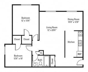 Floor Plan 2 Bedroom, 1 Bath 933 sq. ft.