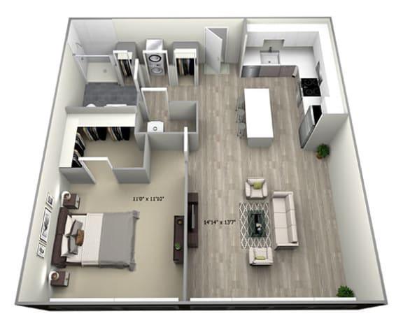 Floor Plan  1 Bed 1 Bath TruaA Floor Plan at 735 Truman, Hyde Park, Massachusetts