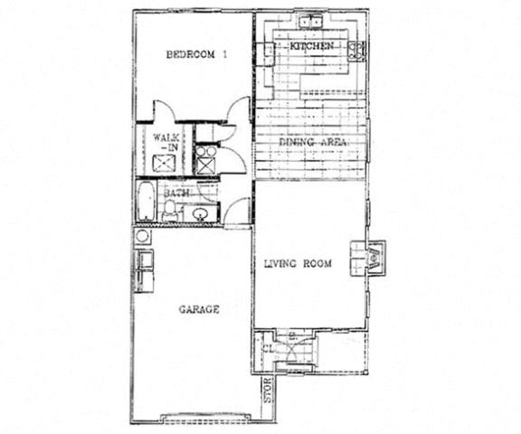 Floor Plan  Birch Court 1 Bedroom Floorplan