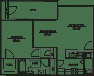 Floor Plan A3 - 1 bed/1bath
