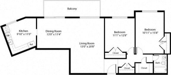 Floor Plan  B2 Floor Plan at The Fields of Arlington, Arlington