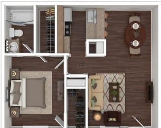 Floor Plan 1 Bed   1 Bath C