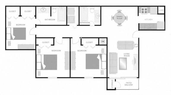 Floor Plan  3x2 floor plans at The VUE at Crestwood Apartments, Alabama, 35212