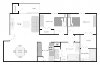 2x2 floor plans at The VUE at Crestwood Apartments, Alabama