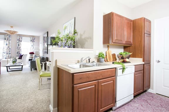 Kitchen with Energy Efficient Dishwasher at Alexandria of Carmel Apartments, Indiana