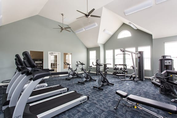 State of the Art Fitness Center with Machines and Weights at Bella Vista Apartments, Indiana 46038