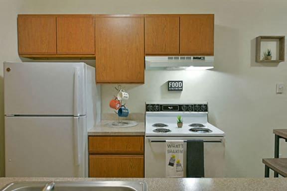 White Kitchen Appliances at Eastgate Woods Apartments, Batavia, Ohio