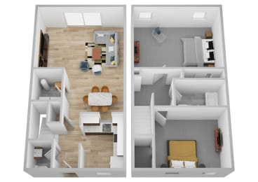 Two Bedroom One and a half Bath Townhome Floor Plan at Galbraith Pointe Apartments and Townhomes*, Cincinnati, OH, 45231