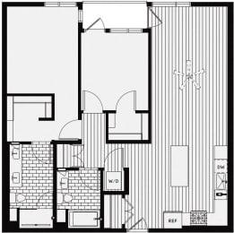 C1 – 2 Bedroom 2 Bath Floor Plan Layout – 1031 Square Feet
