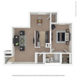 Oakton Park Apartments One Bedroom Floor Plan B