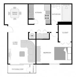 1x1 Floor Plan at The VUE at Crestwood Apartments, Birmingham