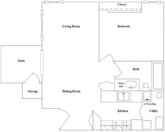 1 Bed, 1 Bath Floor Plan at Columbia Village, Boise, 83716