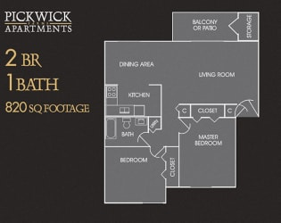 2 BR, 1 Bath Floor Plan at Pickwick Farms Apartments, Indianapolis, IN, 46260