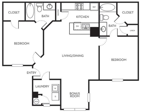 Floor Plan  Two Bedroom One Bath Floorplan The Terraces at Lake Mary Florida