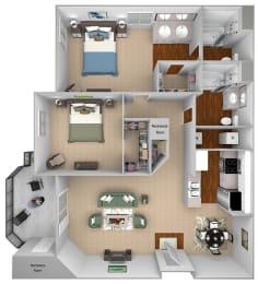 Mountain Shadows Apartments - B1 (Bahia) - 2 Bedroom and 2 bath - 3D floor plan