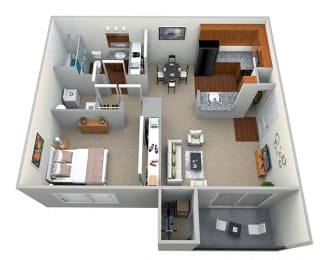 Floor Plan  1 Bedroom 1 Bath - CWM I Floor Plan 3D View at The Crossings at White Marsh Apartments, Maryland