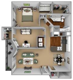 Egrets Landing Apartments - A2 (Pelican) - 1 bedroom and 1 bath - 3D floor plan