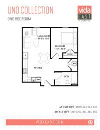 Floor Plan Uno Collection (One Bedroom, A3, A4)
