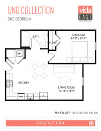 Floor Plan Uno Collection (One Bedroom, A8)