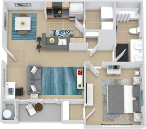 3D Wellesley 1 bedroom apartment. kitchen with bartop open to dining and living room. 1 full bath. in-unit laundry. Patio/balcony.