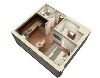 Studio 469 sq ft 3D View Floor Plan at Somerset Place Apartments, Chicago, Illinois