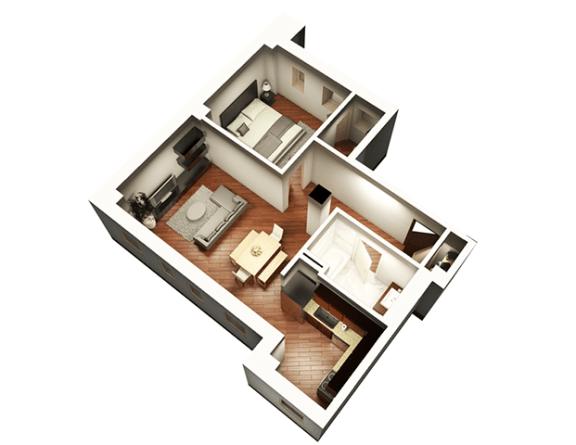 Floor Plan  1 Bed 1 Bath 808 sqft 3D Floor Plan at Somerset Place Apartments, Illinois, 60640