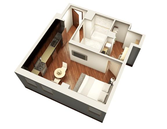 Floor Plan  Studio 462 sqft 3D Floor plan at Somerset Place Apartments, Chicago, IL
