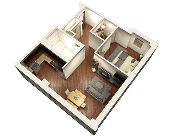 Floor Plan  1 Bed 1 Bath 817 sqft 3D Floor Plan at Somerset Place Apartments, Chicago, 60640