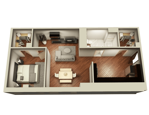 Floor Plan  1 Bed 1 Bath 859 sqft 3D Floor Plan at Somerset Place Apartments, Chicago, Illinois