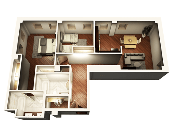 Floor Plan  2 Bed 2 Bath 1055 sqft 3D Floor Plan at Somerset Place Apartments, Chicago, IL