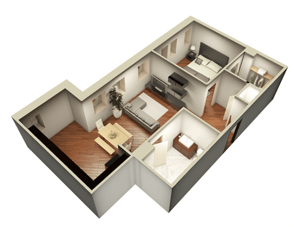 Floor Plan  1 Bed 1 Bath 743 sqft 3D Floor Plan at Somerset Place Apartments, Chicago, IL