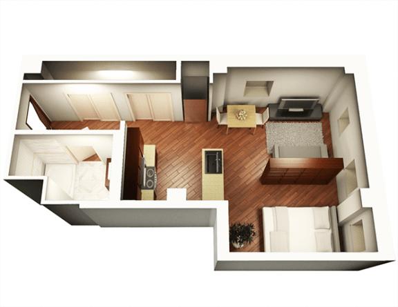 Floor Plan  Studio 548 sqft 3D Floor Plan at Somerset Place Apartments, Illinois, 60640