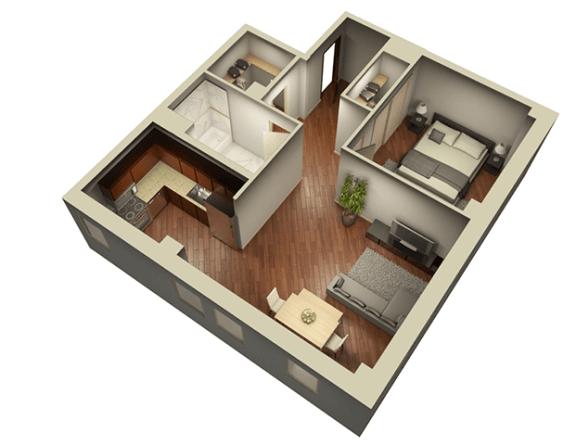 Floor Plan  1 Bed 1 Bath 804 sqft 3D Floor Plan at Somerset Place Apartments, Chicago, 60640